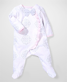 Sterling Baby Flower Print Romper With Bow - White & Pink