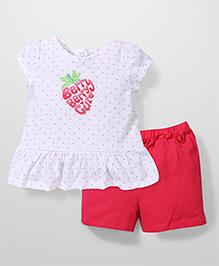 Vitamins Baby Dot Print Top & Shorts Set - Pink & White