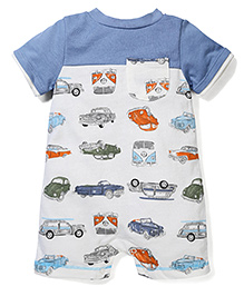 Sterling Baby Vehicle Print Romper - White & Blue