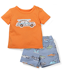 Sterling Baby Vehicle Print T-Shirt & Shorts Set - Orange & Blue