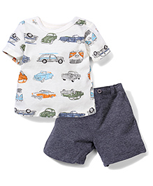 Sterling Baby Vehicle Print T-Shirt & Shorts Set - Cream & Grey