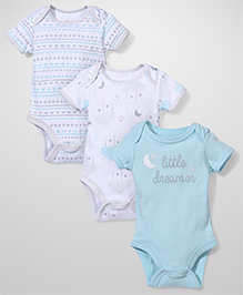 Sterling Baby Snap Button Pack Of 3 Onesies - Blue & White