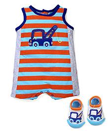 Vitamins Baby Crane Print Bodysuit & Socks Set - Blue & Orange