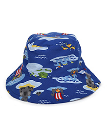 I Play Printed Sun Protection Hat - Blue
