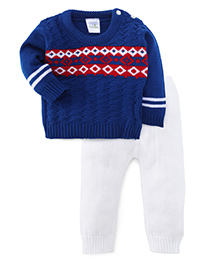 Babyhug Full Sleeves Sweater And Bottoms - Navy White