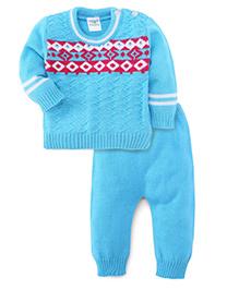 Babyhug Full Sleeves Sweater And Bottoms - Light Blue