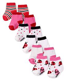 Lovespun Soft & Comfortable 6 Pairs Of Socks - White Red & Pink