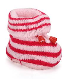 Cute Walk by Babyhug Stripe Booties - Pink White