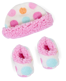 Lovespun Dotted Print Stroller Blanket With Hat & Booties - Pink & Cream