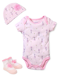 Lovespun Babysuit, Hat & 1 Pair of Socks Set - Pink