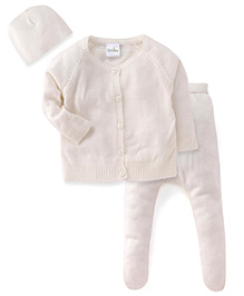 Babyhug Full Sleeves Sweater Bootie Leggings And Cap Set - White