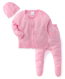 Babyhug Full Sleeves Sweater Bootie Leggings And Cap Set - Pink