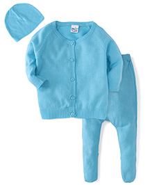 Babyhug Full Sleeves Sweater Bootie Leggings And Cap Set - Blue