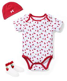 Sterling Baby Onesie Hat & Pair Of Socks Set - White & Red