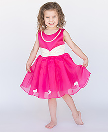 Designs by Meghna Bow Dress with Pearl Necklace - Hot Pink