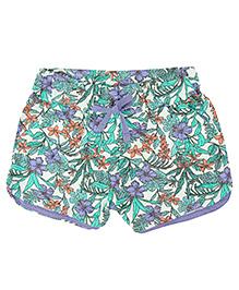 Eimoie Girls Floral Print Shorts - Green