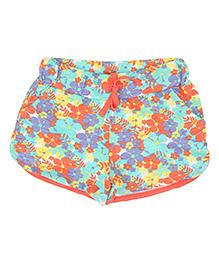 Eimoie Girls Floral Print Shorts - Orange
