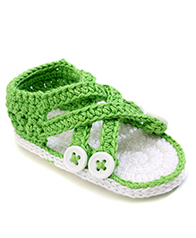 Jefferies Socks Fancy Booties With Buttons - Green