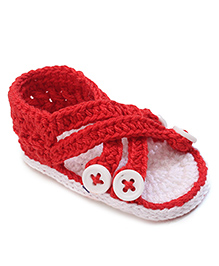 Jefferies Socks Fancy Booties With Buttons - Red
