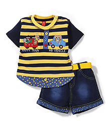 Wow Striped With Patched T-Shirt & Denim Shorts Set - Yellow & Navy