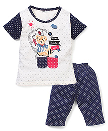 Doreme Lovely Bear Printed Night Suit - White & Navy