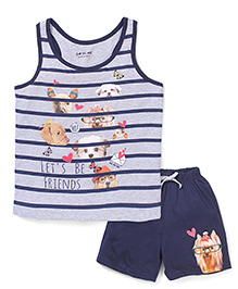Doreme Sleeveless Lets Be Friends Printed Top & Shorts Set - Navy