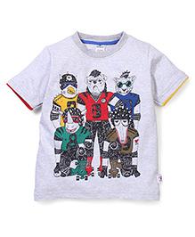 Ollypop Half Sleeves Printed T-Shirt - Grey
