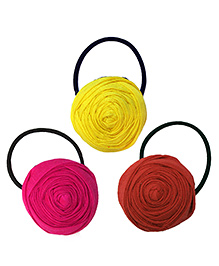 Pigtails And Ponys Flower Rubber Band - Red Yellow Pink