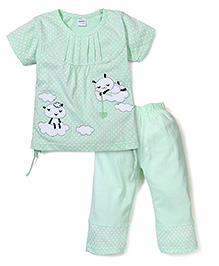 Chikoo Half Sleeves Dotted Night Suit - Green