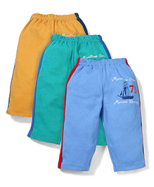 Zero 73 Printed Pack Of 3 Track Pants - Yellow Green Light Blue