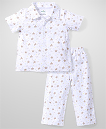 Babyhug Half Sleeves Star Printed Night Suit Set - White