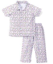 Babyhug Half Sleeves Floral Printed Night Suit - White