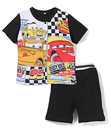 Superfie Attractive 2 Piece Tee & Shorts Set - Black & Multicolour