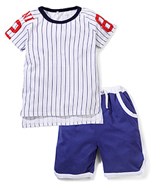 Superfie Stylish 2 Piece T-Shirt & Shorts Set - White & Blue