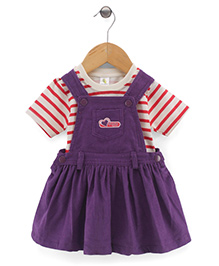 Cucumber Sleeveless Dungaree Style Frock With Inner Tee - Purple And White