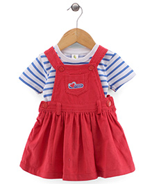 Cucumber Sleeveless Dungaree Style Frock With Inner Tee - Red And White