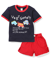 Cucumber Half Sleeves Very Good Print T-Shirt And Shorts - Navy Blue And Red