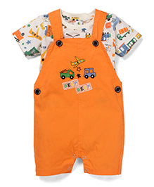Cucumber Half Sleeves Dungaree Style Romper With Inner T-shirt - Orange