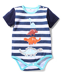 Superfie Dinosaur Print Onesie - White & Navy Blue