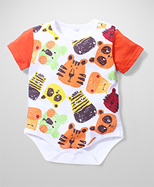 Superfie Animal Face Print Onesie - Multicolour