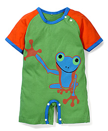 Superfie Frog Print Romper - Green & Orange