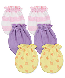Ben Benny Striped Solid Color & Printed Combo Set Of 3 Mittens - White Lavender Yellow