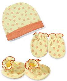 Ben Benny Cap Mittens And Booties Set Heart Print - Yellow & Orange