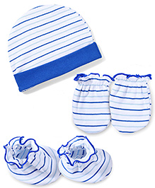 Ben Benny Cap Mittens And Booties Set Striped - White & Royal Blue