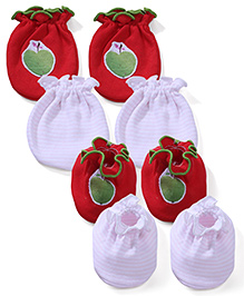 Ben Benny Solid Color With Patch & Striped Set Of 2 Mittens & Booties - Red & Light Pink