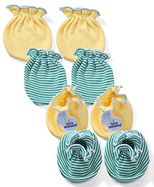 Ben Benny Solid Color With Patch & Striped Set Of 2 Mittens & Booties - Yellow & Green