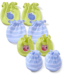 Ben Benny Solid Color With Patch & Striped Set Of 2 Mittens & Booties - Light Green & Blue