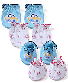 Ben Benny Solid Color With Patch & Floral Printed Set Of 2 Mittens & Booties - White & Aqua