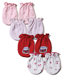 Ben Benny Mittens Pack Of 4 - Red Pink Peach White
