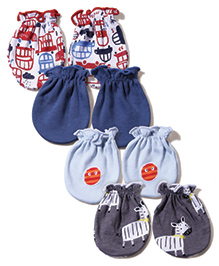 Ben Benny Baby Mittens Pack Of 4 - Teal Blue Sky Blue White Grey